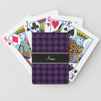 Personalized name Purple houndstooth pattern Playing Cards