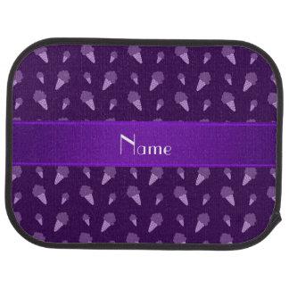 Personalized name purple ice cream pattern car floor mat