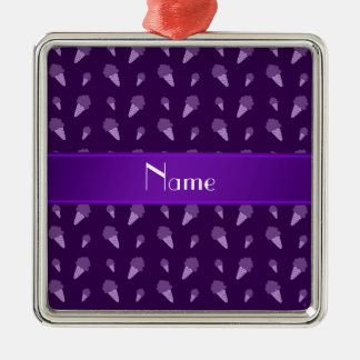Personalized name purple ice cream pattern christmas tree ornaments