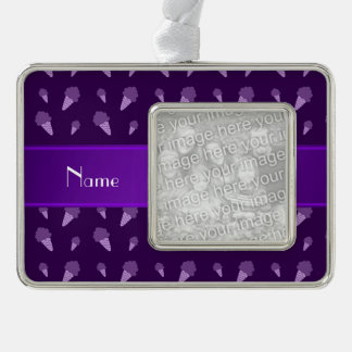 Personalized name purple ice cream pattern silver plated framed ornament