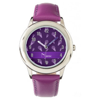 Personalized name purple ice cream pattern watches