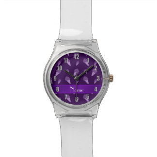 Personalized name purple ice cream pattern wristwatches