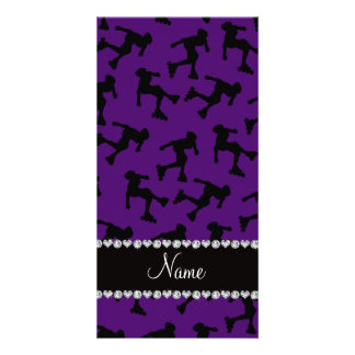 Personalized name purple inline skating photo card