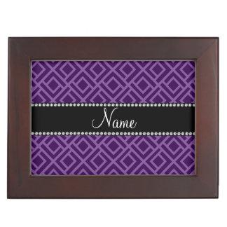 Personalized name purple interlocking triangles keepsake boxes