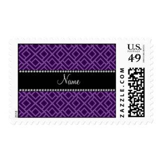 Personalized name purple interlocking triangles postage