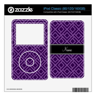 Personalized name purple interlocking triangles skin for the iPod