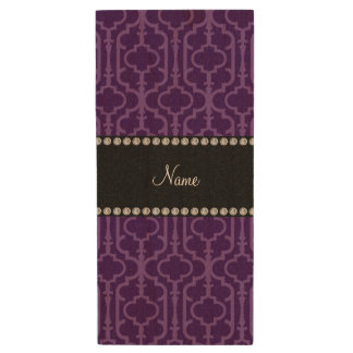 Personalized name purple intricate moroccan wood USB 2.0 flash drive