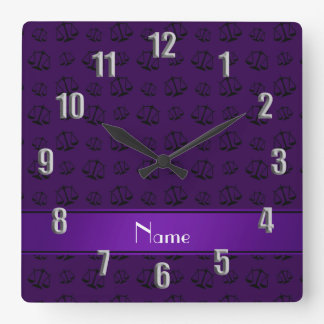 Personalized name purple justice scales clock