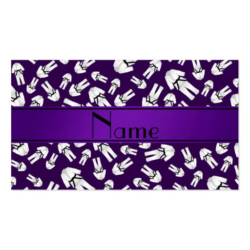 Personalized name purple karate pattern business card