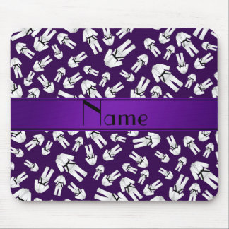 Personalized name purple karate pattern mouse pad