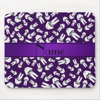 Personalized name purple karate pattern mousepad