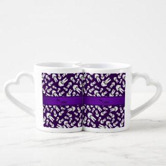 Personalized name purple karate pattern couples' coffee mug set