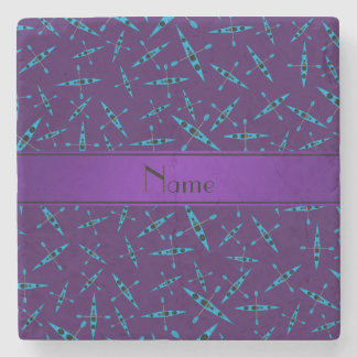Personalized name purple kayaks stone coaster