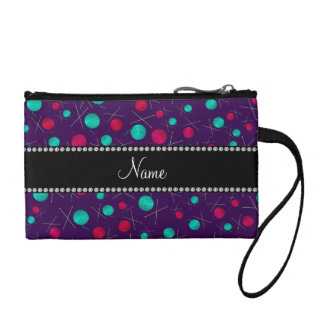 Personalized name purple knitting pattern coin purse