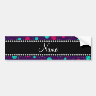 Personalized name purple knitting pattern bumper stickers