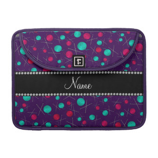 Personalized name purple knitting pattern sleeve for MacBook pro