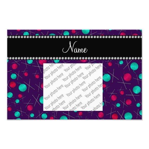 Personalized name purple knitting pattern photo print