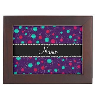 Personalized name purple knitting pattern memory box