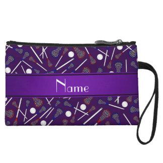 Personalized name purple lacrosse pattern wristlet purse
