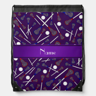 Personalized name purple lacrosse pattern drawstring bag
