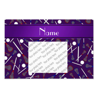 Personalized name purple lacrosse pattern photograph