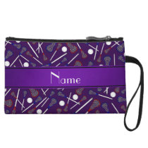 Personalized name purple lacrosse pattern wristlet
