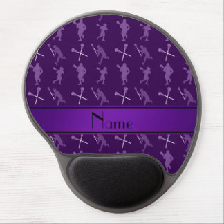 Personalized name purple lacrosse silhouettes gel mouse pad