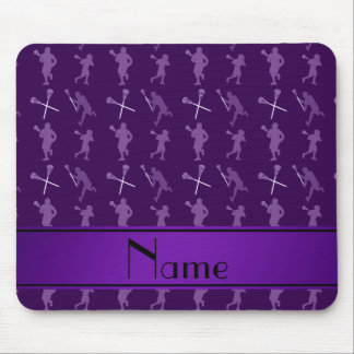 Personalized name purple lacrosse silhouettes mouse pad