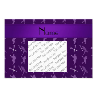 Personalized name purple lacrosse silhouettes photo print