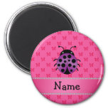 Personalized name purple ladybug pink butterflies refrigerator magnet