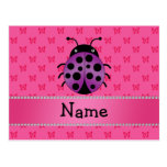 Personalized name purple ladybug pink butterflies postcards