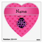 Personalized name purple ladybug pink butterflies wall decal