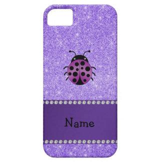 Personalized name purple ladybug purple glitter iPhone 5 cases