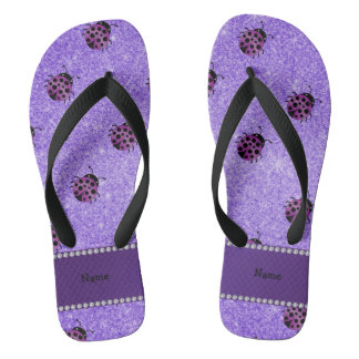 Personalized name purple ladybug purple glitter flip flops