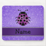 Personalized name purple ladybug purple glitter mouse pads