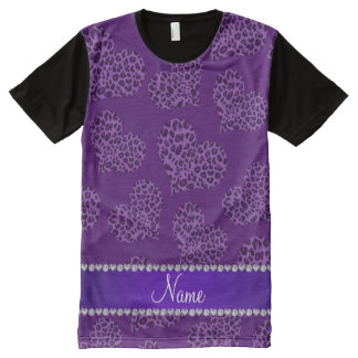 Personalized name purple leopard hearts All-Over print t-shirt