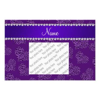 Personalized name purple leopard hearts photo print