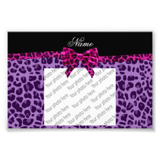Personalized name purple leopard print pink bow photographic print