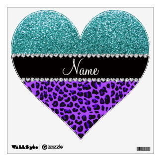 Personalized name purple leopard turquoise glitter room decal