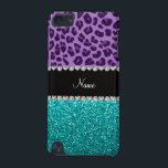"Personalized name purple leopard turquoise glitter iPod touch 5G cover<br><div class=""desc"">Purple leopard animal print pattern background and bright aqua / turquoise glitter (not real glitter) black diamonds stripe (faux diamonds, not real) with hearts and dots personalized with your name gifts or monogram gifts or your initials. Ideal for bride and groom weddings, wedding showers, engagement showers, engagement party, anniversary, save...</div>"