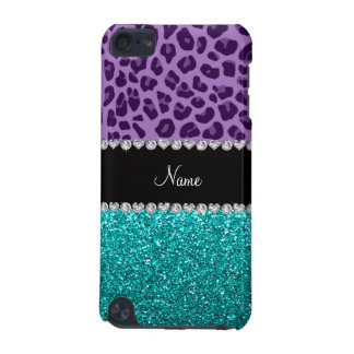 Personalized name purple leopard turquoise glitter iPod touch 5G cover