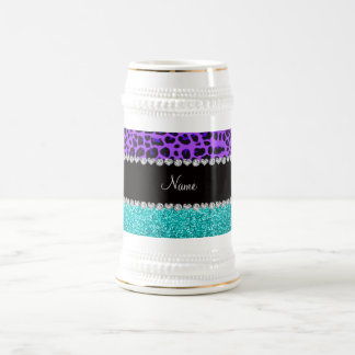 Personalized name purple leopard turquoise glitter 18 oz beer stein