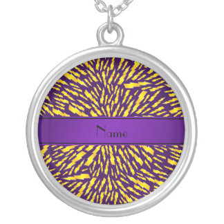 Personalized name purple lightning bolts pendants