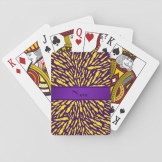 Personalized name purple lightning bolts deck of cards