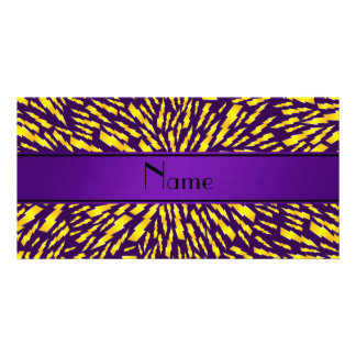 Personalized name purple lightning bolts photo card