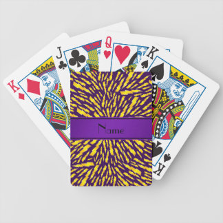 Personalized name purple lightning bolts bicycle playing cards