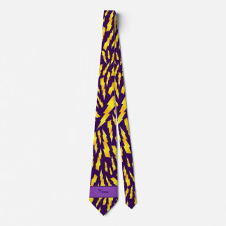 Personalized name purple lightning bolts tie