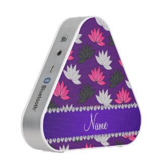 Personalized name purple lotus flowers bluetooth speaker