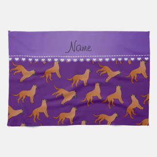 Personalized name purple malinois dogs hand towel