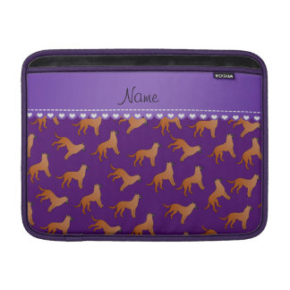 Personalized name purple malinois dogs sleeves for MacBook air